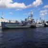 第二次世界大戦で活躍した軽巡洋艦、ロンドンのテムズ川に浮かぶ「ベルファスト」を見
